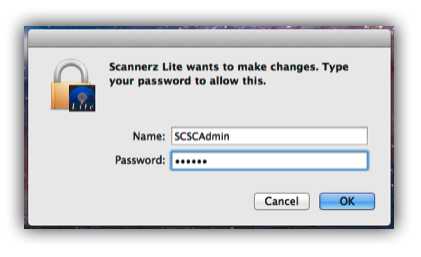 Scannerz Lite password dialog